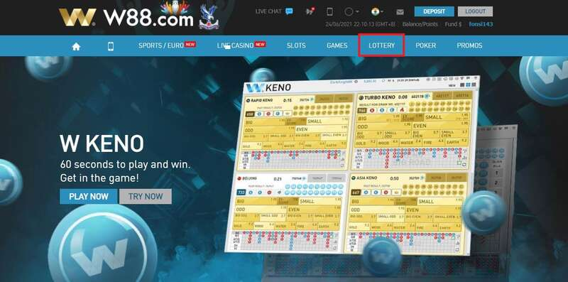 3-Steps to Access The Keno W88
